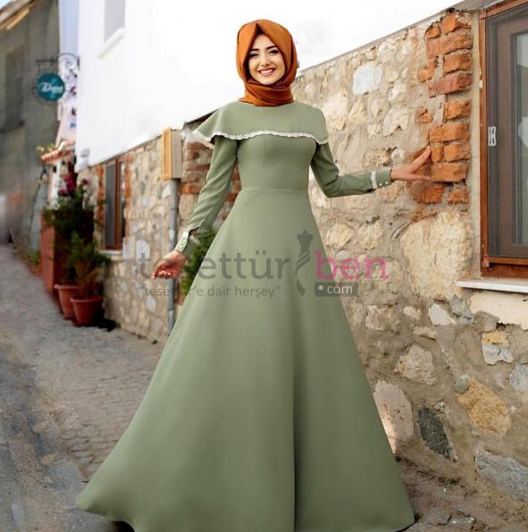 2017 Tesettür Bayan Elbise Modeli Mint Yeşili