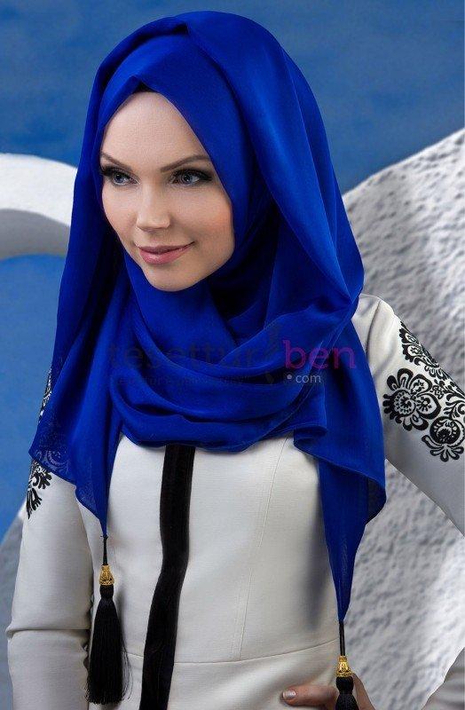 Muslima Wear Püsküllü Şal Saks Mavisi
