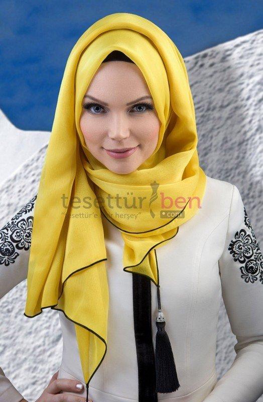 Muslima Wear Püsküllü Şal Sarı