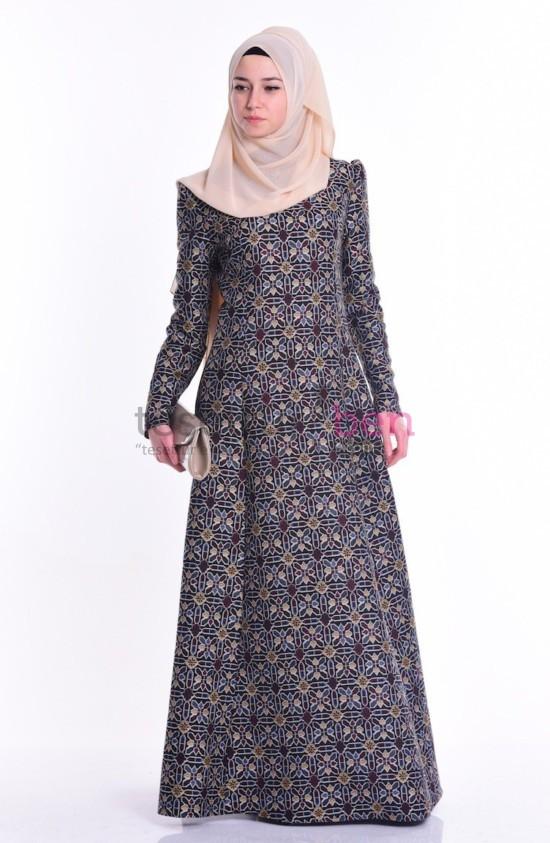 Sefa Merve Etnik Desenli Elbise Siyah