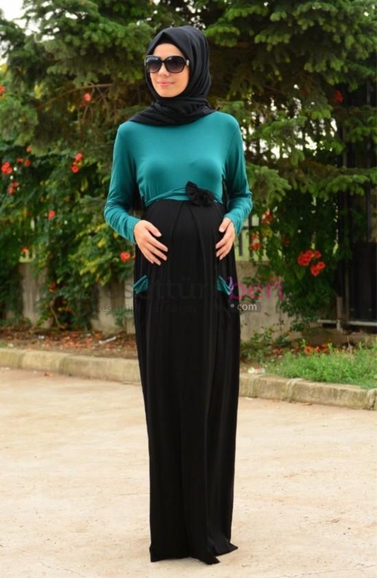 Sefa Merve Tesettür Hamile Elbise Koyu Yeşil