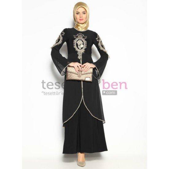 Güpürlü Abiye Elbise Siyah Bürün