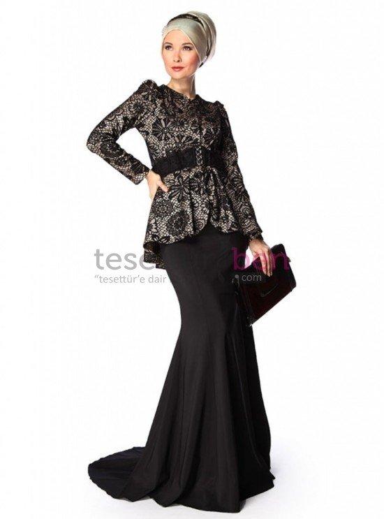 Siyah Abiye Tesettür Elbiseler