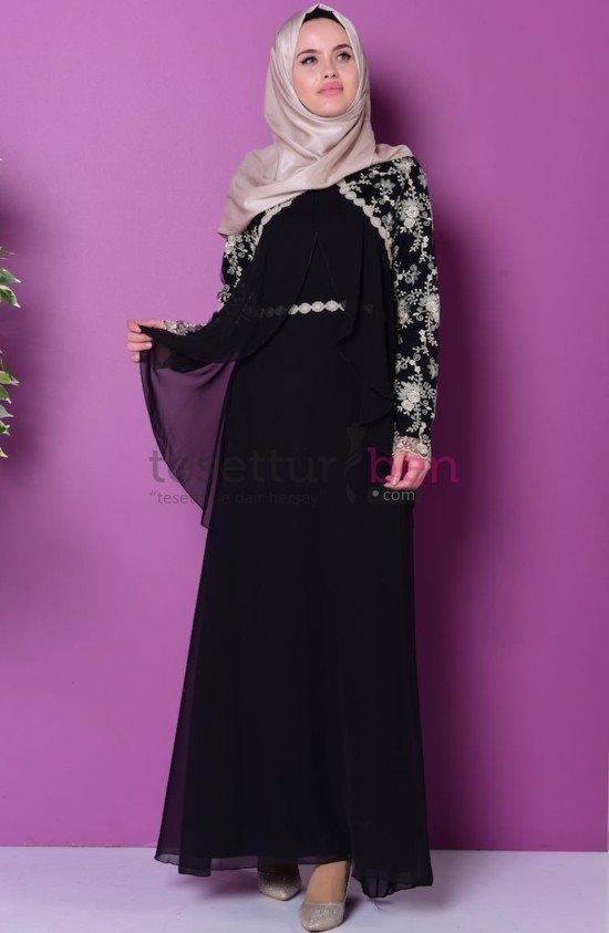 Siyah Dantelli Abiye Elbise Sefa Merve