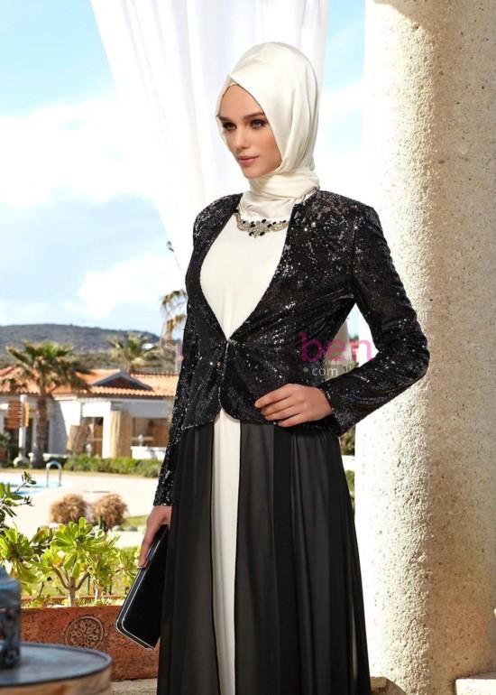 Siyah Beyaz Pul Payetli Tesettur Abiye Modeli