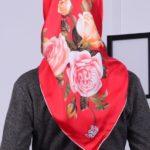 Levidor İpek Dijital Baskılı Eşarp Kırmızı Vizon