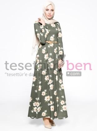 Çiçek Desenli Elbise - Haki - Topless