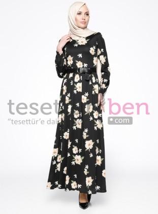 Çiçek Desenli Elbise - Siyah - Topless