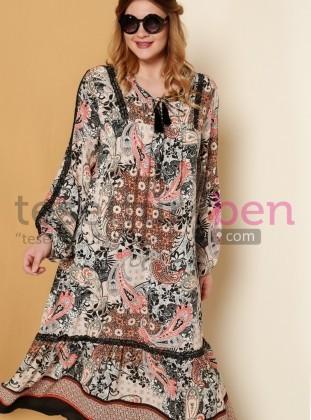 Şal Desenli Dantel Detaylı Elbise - Turuncu Siyah - Alia
