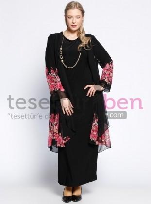 Şifon Hırka&Elbise İkili Takım - Pembe Siyah