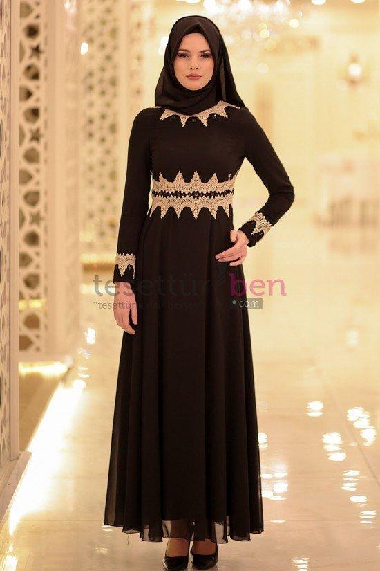 Aramiss Dantel Detaylı Siyah Tesettür Elbise