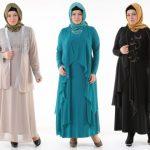 Büyük Beden Tesettür Abiye Elbise Modelleri 2017