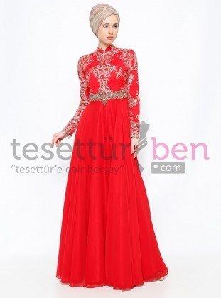 Boncuk İşlemeli Abiye Elbise Kırmızı Gold Asbella Abiye