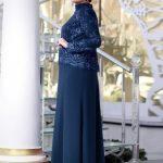 Dantel İşlemeli Abiye Elbise - Lacivert - Nesrin Emniyetli