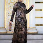 Dantelli Abiye Elbise - Gold Siyah - Nesrin Emniyetli