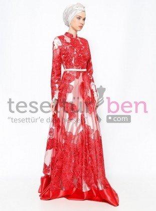 Dantelli Abiye Elbise Kırmızı Ekru Asbella Abiye