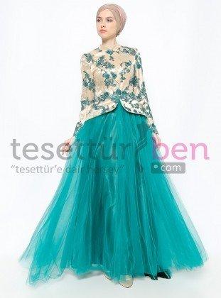 Dantelli Abiye Elbise Yeşil Gold Asbella Abiye