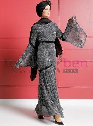 Kadife Garnili Pırıltılı Abiye Elbise Siyah Gri Dersaadet