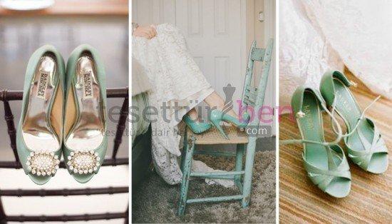 Renkli Gelin Ayakkabısı Modelleri Nil Yeşili