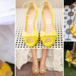 Renkli Gelin Ayakkabısı Modelleri Sarı