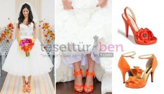 Renkli Gelin Ayakkabısı Modelleri Turuncu
