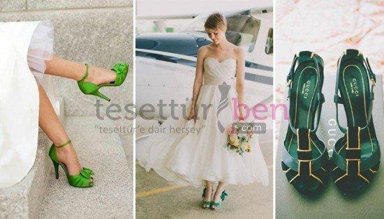 Renkli Gelin Ayakkabısı Modelleri Yeşil