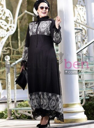 Tül Dantelli Abiye Elbise - Siyah Gri - Nesrin Emniyetli