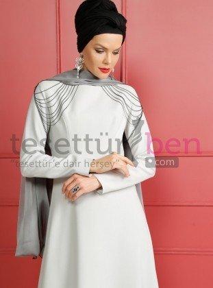 Zincir Detaylı Abiye Elbise Gri Dersaadet