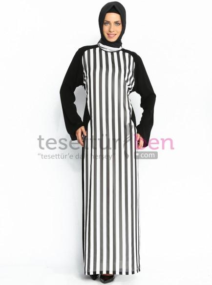 Önü Çizgili Kazzaz Abaya Elbise Siyah Ön Marın Çizgili