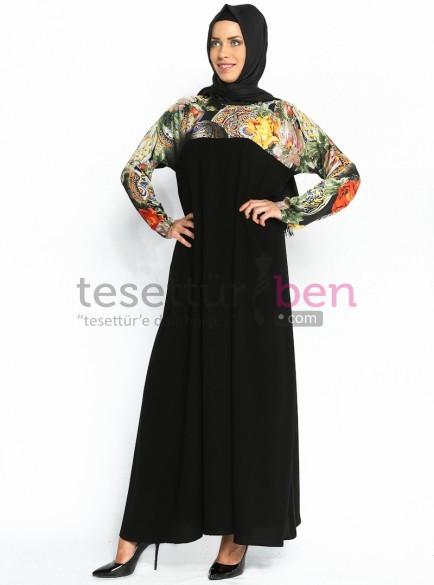 Üzeri Çiçek Baskılı Kazzaz Elbise Siyah