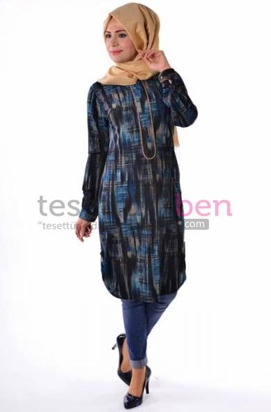 Desenli Tunik Parille Tesettür Giyim Modelleri