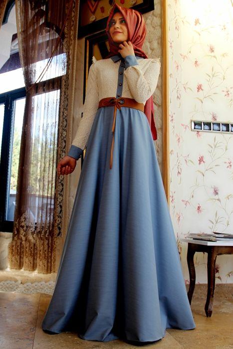 Gamze Polat Mavi Stil Dantelli Kot Elbise
