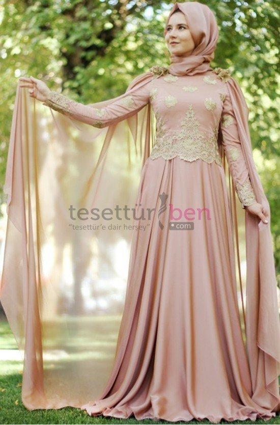 Hilal Baş Pudra Golden Abiye Elbise