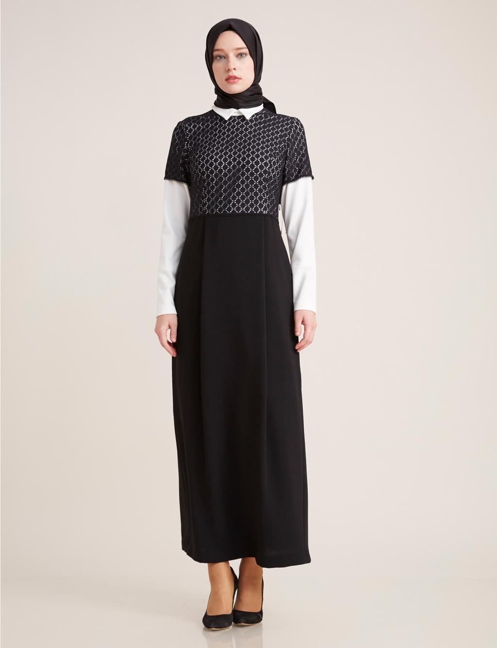 Kayra Giyim Üstü Güpür Detaylı Elbise Siyah