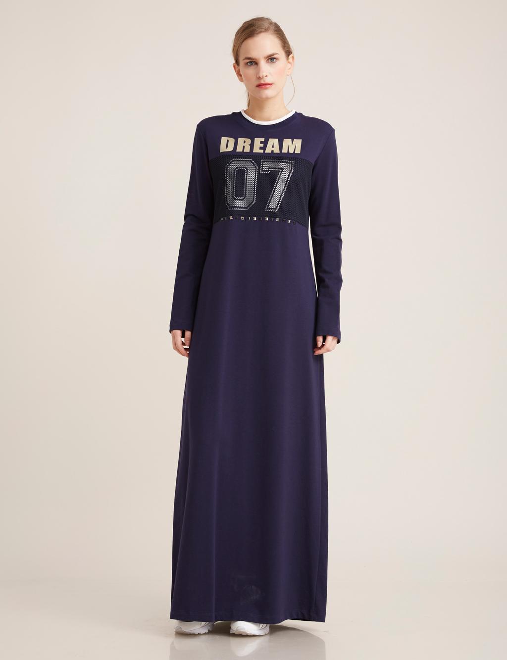 Kayra Giyim Baskılı Spor Elbise Lacivert