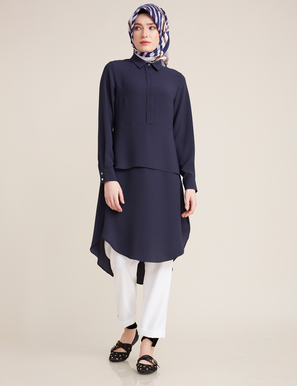Kayra Giyim Brit Detaylı Tunik Lacivert