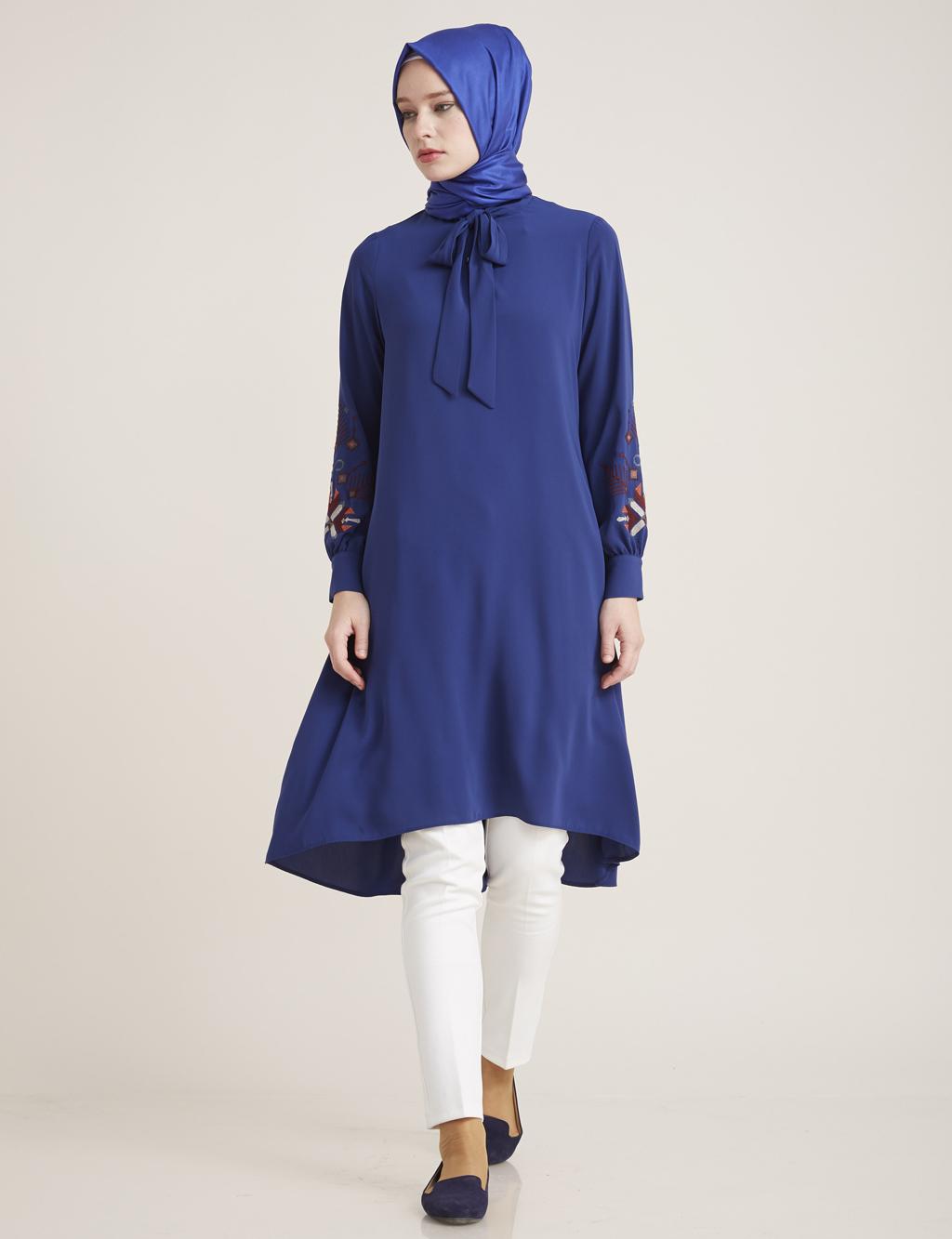 Kayra Giyim Kolları Etnik Desenli Tunik Saks