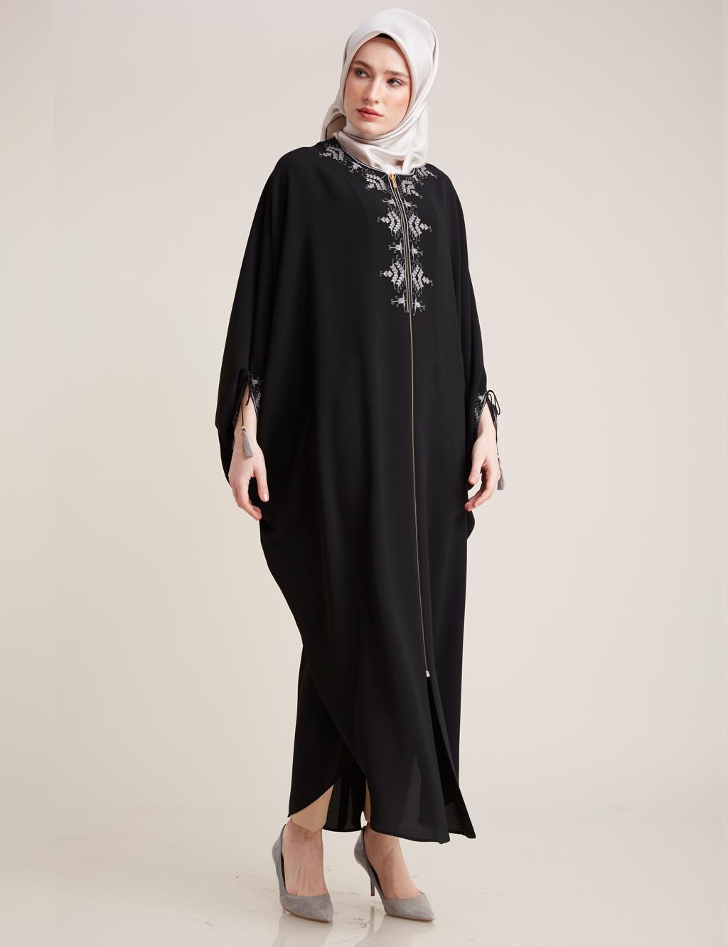 Kayra Giyim Nakış Detaylı Salaş Giy-Çık Siyah