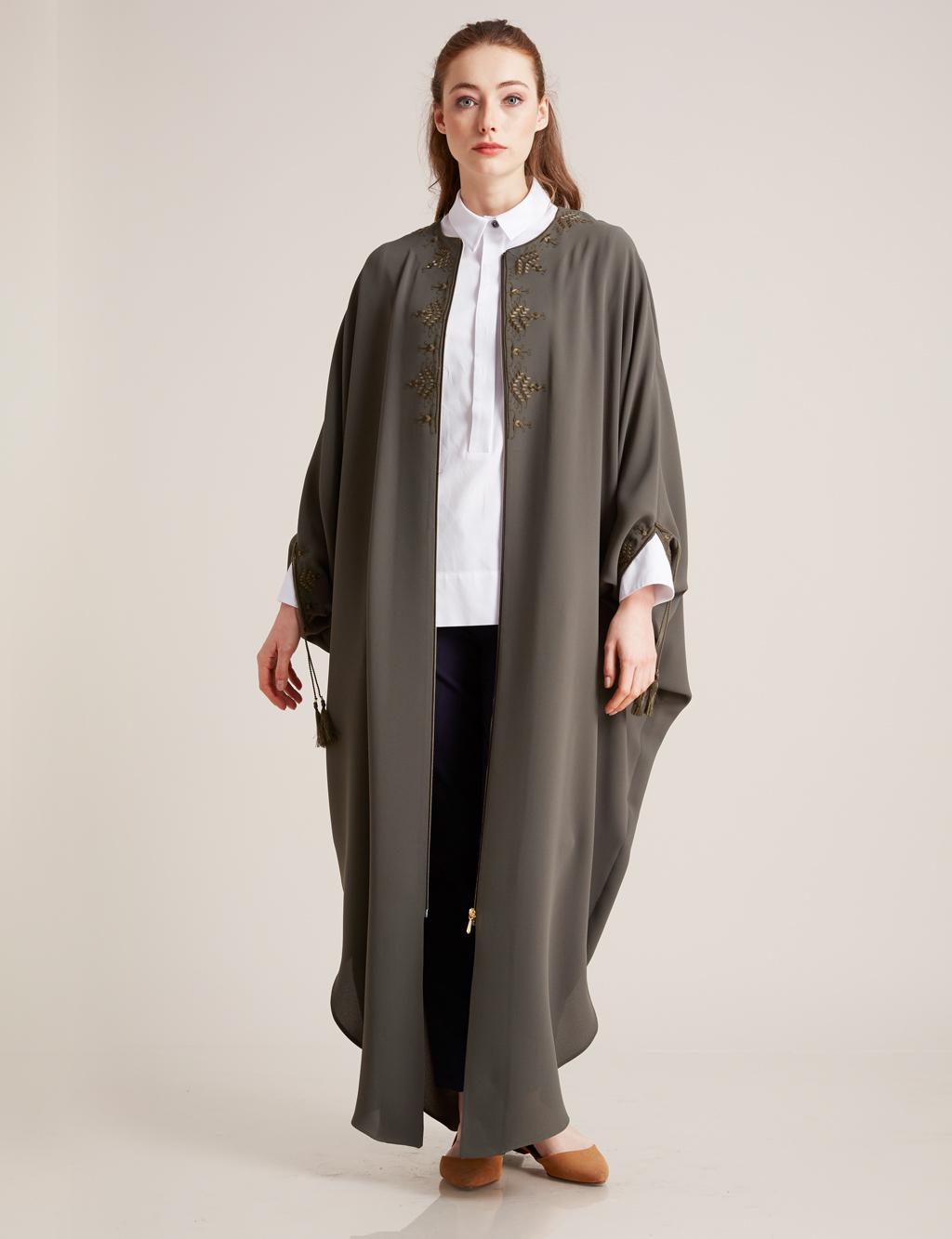 Kayra Giyim Nakış Detaylı Salaş Giy-Çık Yeşil