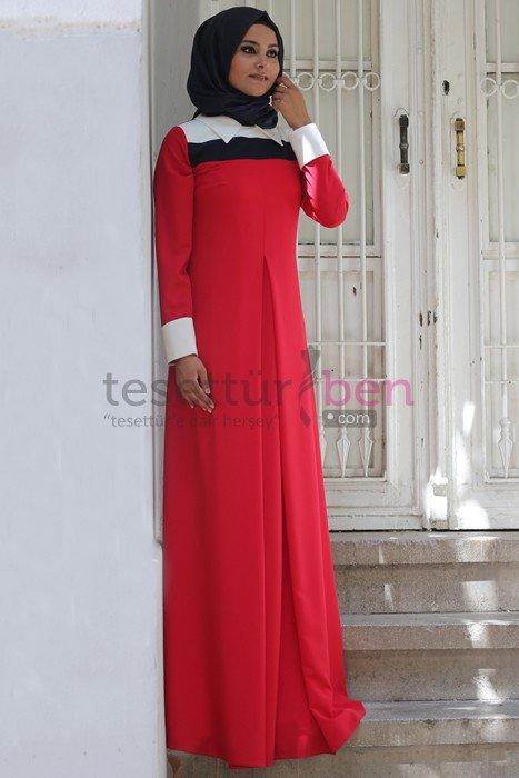 Melek Konat Kırmızı Aşya Tesettür Elbise