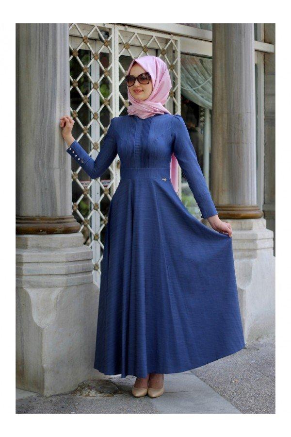 Minel Aşk Nervürlü Koyu Kot Elbise