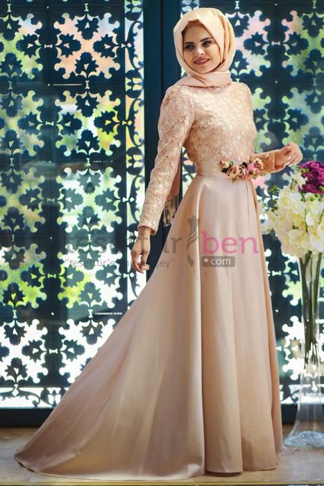Minel Aşk Pudra Floral Abiye Elbise