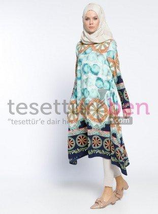 Moda Nisa Desenli Tunik Su Yeşili Topless