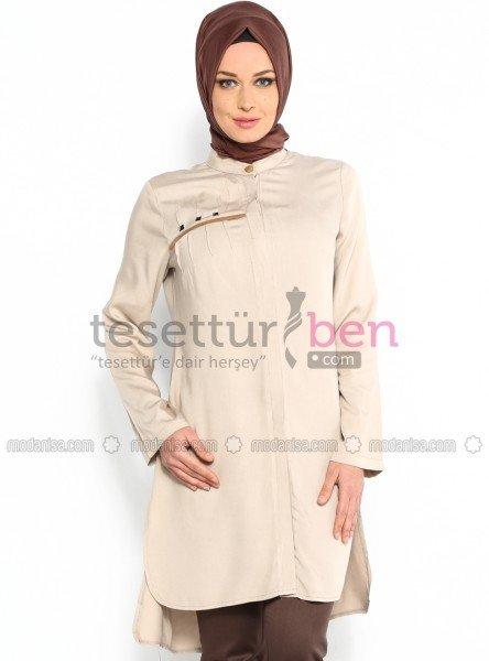 Parille Giyim Gizli Düğmeli Tunik Bej