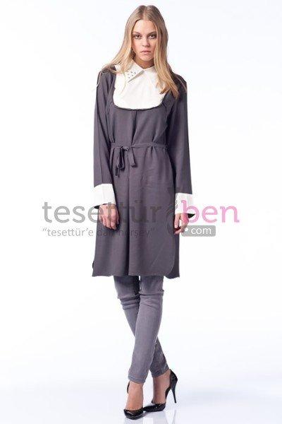 Parille Giyim Gri Yakalı Tunik