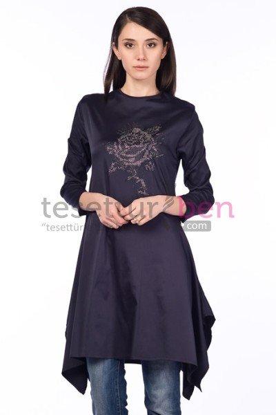Parille Giyim Lacivert Önü Taşlı Tunik