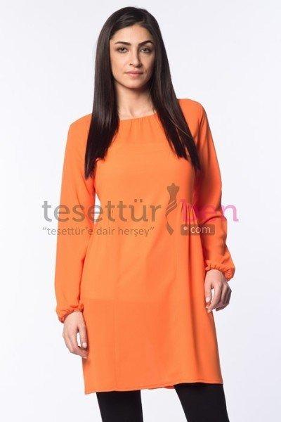 Parille Giyim Orange Beli Büzgülü Tunik