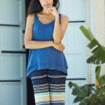 Penye Mood Mavi Çizgili Pijama Takımı