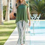 Penye Mood Yeşil Çizgili Pijama Takımı