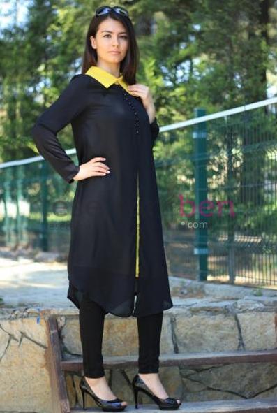 Sarı Yaka Siyah Tunik Parille Tesettür Giyim Modelleri